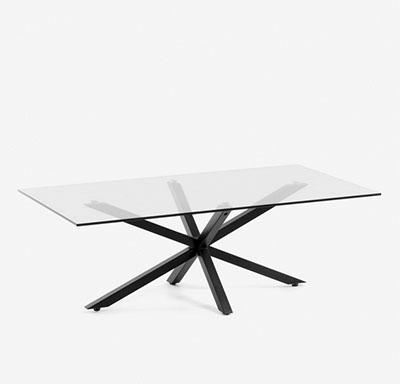 mesa de centro de cristal con patas de metal