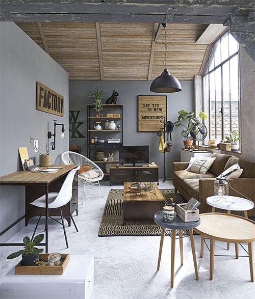 mesas auxiliares de madera para la decoración de un loft