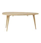 mesa auxiliar ovalada de madera