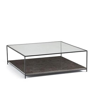 mesa de centro de cristal y metal negro