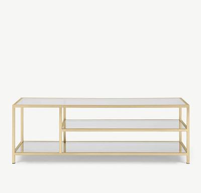 mesa baja de vidrio y latón
