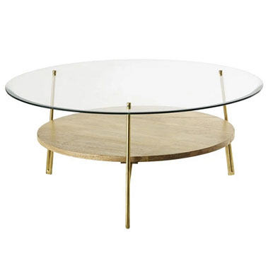 mesa centro redonda madera y cristal