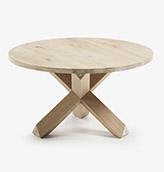 mesa de centro redonda de madera maciza