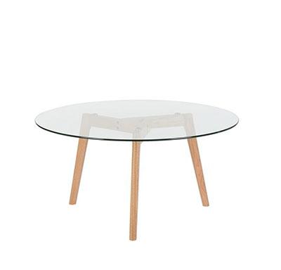 mesa de centro redonda de cristal y madera