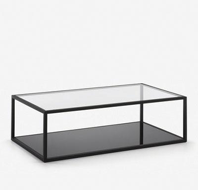 mesa baja de metal negro y vidrio