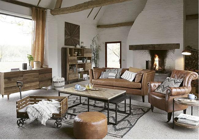 mesas de estilo industrial para la decoración de un salón