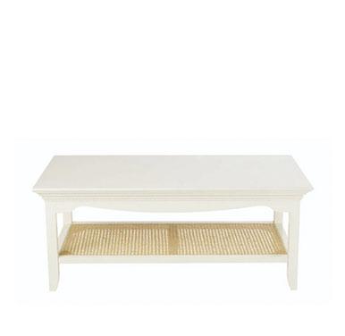 mesa baja madera rustica color blanco