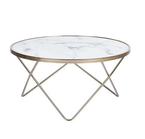 mesa baja de marmol redonda y dorado