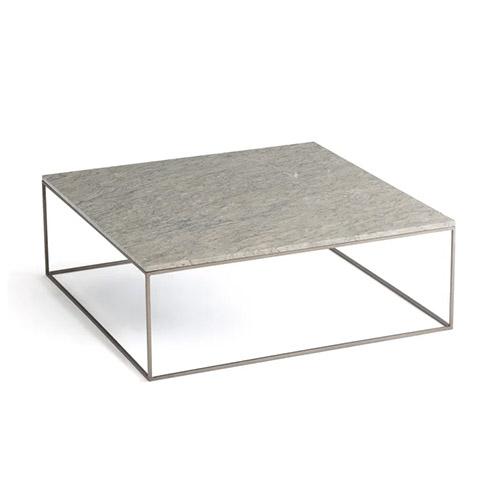 mesa de centro marmol gris y dorado