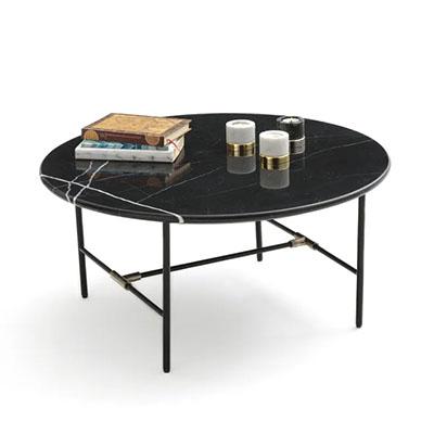 mesa centro negra redonda de mármol