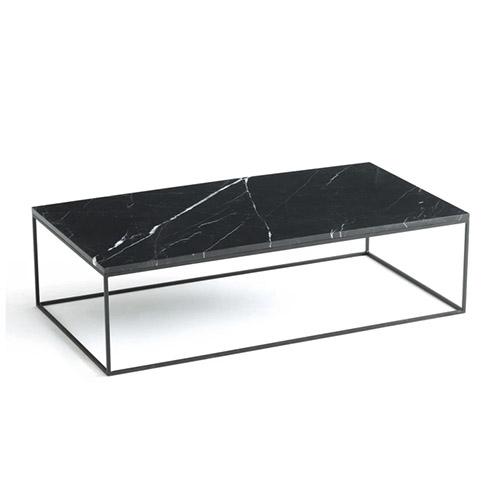 mesa baja de marmol rectangular negro