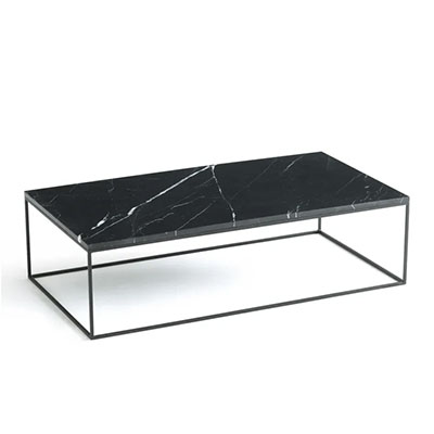 mesa de centro negra rectangular de mármol