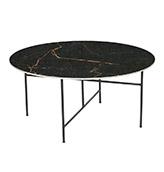 mesa de centro redonda metálica de color negro efecto mármol
