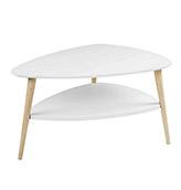 mesa baja nórdica ovalada blanca patas de madera