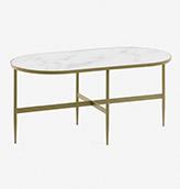 mesa baja ovalada de mármol