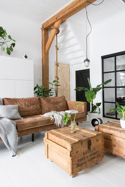 Mesa de centro hecha de palets de madera