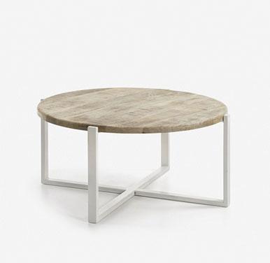 mesa de centro redonda madera y metal