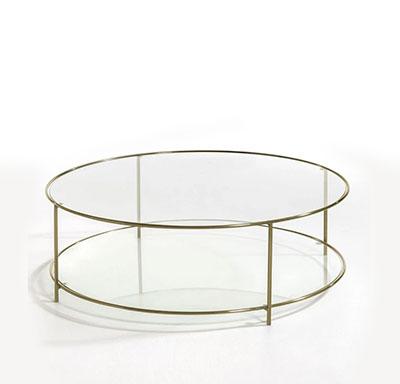 mesa de centro redonda de cristal y metal dorado