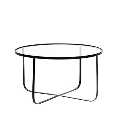 mesa baja de vidrio y metal de color negro