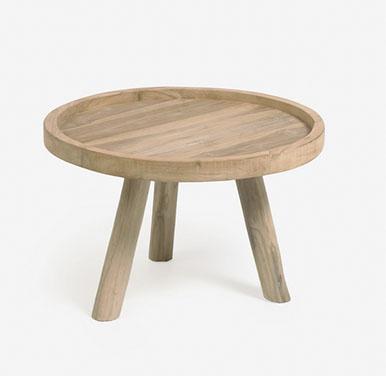mesa de centro redonda madera rustica