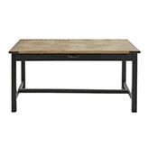 mesa de comedor industrial de madera y metal