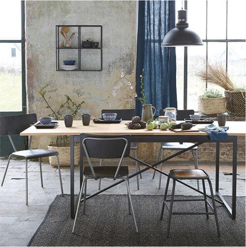 mesa extensible de madera y metal de estilo vintage industrial