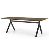 mesa de comedor larga de madera y metal