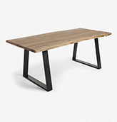 mesa de comedor de madera maciza y metal