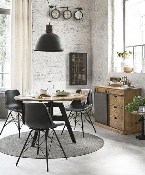 muebles de estilo industrial para la decoración de la cocina y elcomedor