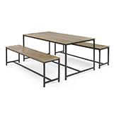 mesa  y bancos de comedor de madera y metal