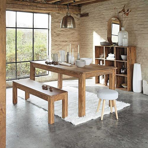 mesa de comedor rústica de madera maciza