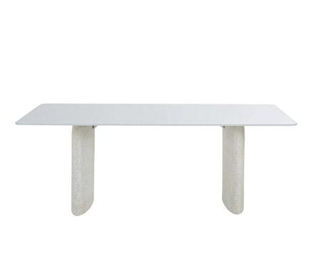 mesa de cristal y terrazo rectangular