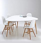 mesa redonda blanca de diseño escandinavo