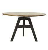 mesa de comedor redonda de madera y metal