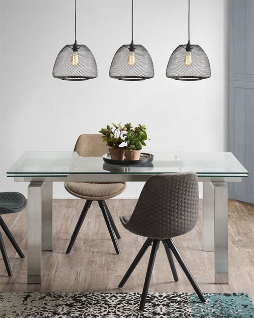 mesa de cristal de comedor tipo extensible
