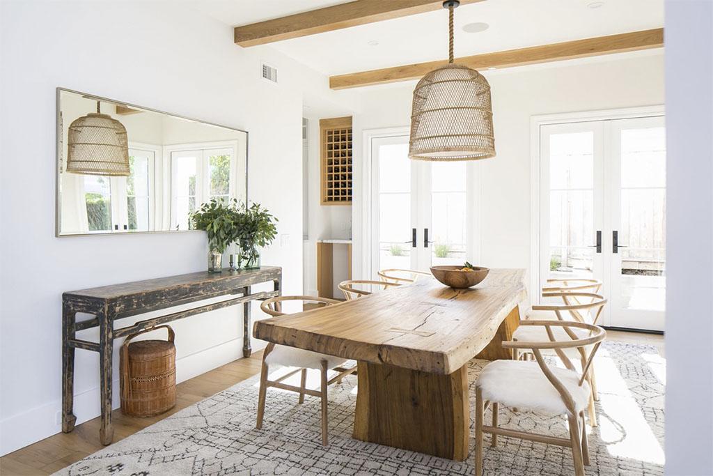 mesa de comedor rústica de madera