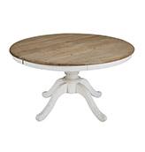 mesa de comedor redonda extensible de madera de estilo rústico vintage