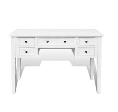 mesa cajonera de madera blanca