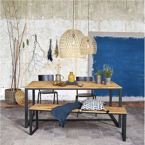 mesa rustica de madera y hierro