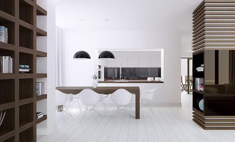 comedor de estilo minimalista en una casa nórdica