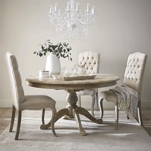 mesa redonda de madera maciza de estilo rústico