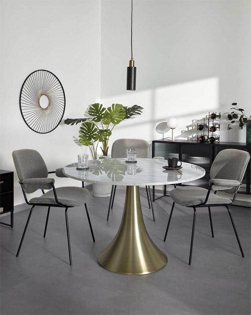 mesa redonda de comedor de mármol blanco