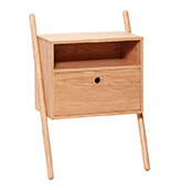 mesa de noche con cajón y estante