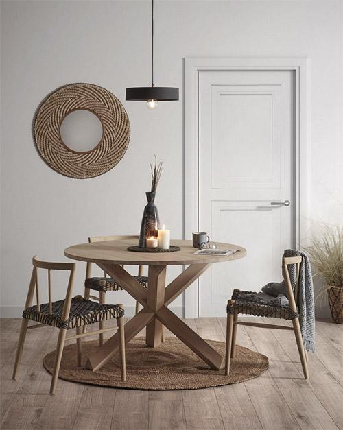 mesa de comedor redonda de madera de estilo y diseño nórdico