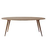 mesa de madera larga ovalada de comedor