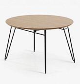 mesa redonda de madera y patas de acero