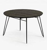 mesa redonda extensible de madera y patas de acero