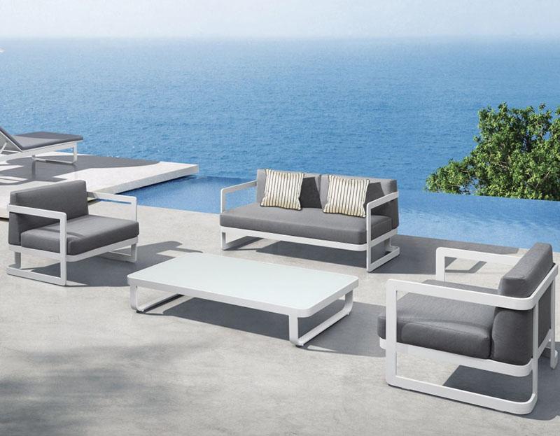 conjunto de muebles de aluminio para el exterior