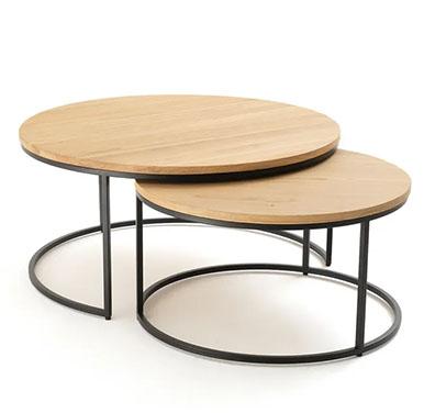 mesas de centro redondas de madera y metal