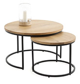 mesas de centro redondas de madera y patas de metal